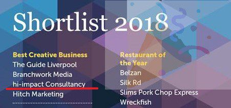 Hi-impact shortlisted for 'Best Creative Business' in the upcoming Merseyside Independent Business Awards 2018